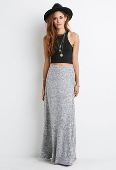 Ruched Side Maxi Skirt black and gray simple, comfortable ...
