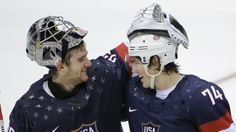 USA Goaltender Jonathan Quick greets Forward T.J. Oshie after Oshie scored the Winning Goal against Russia in a shootout. #2014Olympics #TeamUSA