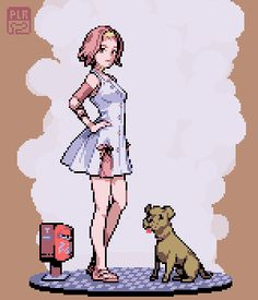 'Morioh Ghosts' Pixel art of a character from Jojo's Bizarre Adventure, by Polloron on Tumblr.