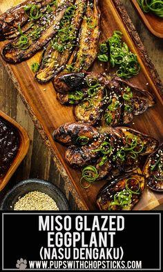 This glazed black garlic miso eggplant recipe (Nasu Dengaku) is quick and easy to make! Brushed with sweet and savory glaze, packed with umami from the black garlic. - Miso Eggplant (Nasu Dengaku) with Black Garlic Garlic Recipes, Vegetable Recipes, Vegetarian Recipes, Cooking Recipes, Healthy Recipes, Easy Asian Recipes, Side Dish Recipes, Indian Food Recipes, Japanese Recipes