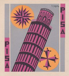 Illustration for the municipal coat of arms of the Pisa province. By Fortunato Depero Italian Art, Vintage Italian, Vintage Ads, Italian Futurism, Futurism Art, Italian Posters, Plakat Design, Design Art, Graphic Design