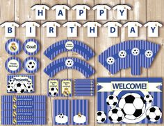 View Soccer Printables by Pipetua on Etsy Couples Baby Showers, Floral Banners, Soccer Party, Soccer Theme, Bunting Flags, Ideas Para Fiestas, Fiesta Party, Banner Template, Cookies Et Biscuits