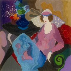 Tarkay, Itzchak Loveliness (also known as Chapeau Rose) 1997 33'' x 33'' Serigraph in color on linen with hand embellishment in acrylic by the artist.