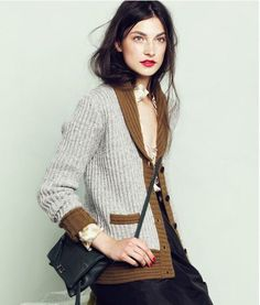 JCrew Tipped Châle Cardigan. WANT. Style: 39954. Possibly cashmere.