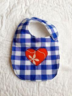 Babero bebé babero corazón babero vichy babero azul por LiliyCoco, €9.00