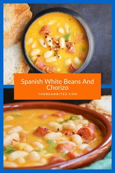 This Spanish chorizo and beans recipe can be prepared as a stew or a soup, using traditional Spanish ingredients and spicy chorizo. Chorizo And Bean Stew, How To Cook Chorizo, White Bean Recipes, Bean Soup Recipes, Chorizo Recipes, Vegetarian Recipes, Authentic Spanish Recipes, Carrots And Potatoes