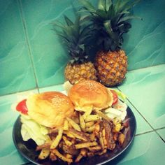 Home made bred burgers with some French fries.. Excellent taste!