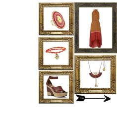 This earthy tones weaved waxed cords and twisted brass necklace is so demure and unique. The only way to make it justice is to pair it with rich browns and reds like this dress and try to wear wedge sandals to look like a true bohemian glamazon! Brass Necklace, Cords, Earthy, Wedge Sandals, Mona Lisa, That Look, Wax, Bohemian, Unique