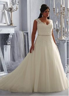 Charming Organza & Tulle V-neck Neckline Natural Waistline A-line Plus Size Wedding Dress With Lace Appliques