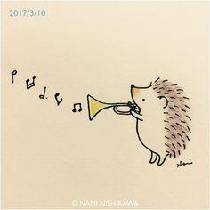 1142 #トランペット a #trumpet #illustration #hedgehog #イラスト #ハリネズミ #なみはりねずみ #illustagram