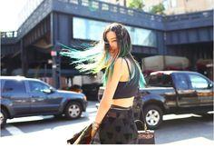 Irene Kim at New York Fashion Week  Steve J & Yoni P Jacket + Push Button Skirt + Mania Mania Necklace + Viatory Rings + Vintage Hollywood Bracelets + Couronne Bag