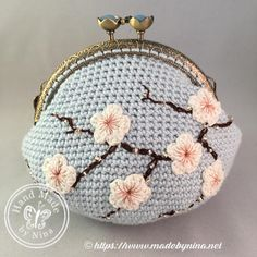 Blue Cherry Blossom *Coin Purse