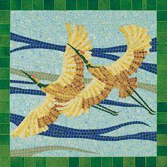Two cranes in flight         #animal #mosaic