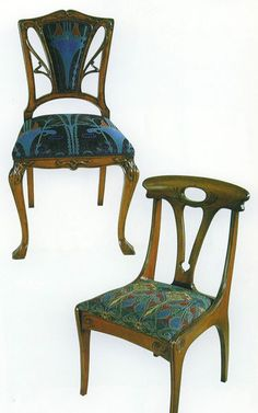 ART NOUVEAU DINING CHAIR (Upholstered Back)  Height 0.910, Width 0.510, Depth 0.430
