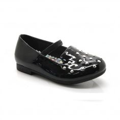 763af3ccddd6 Little Girls Black Patent Stud Accented Elastic Strap Casual Shoes 5-10  Toddler Casual Shoes