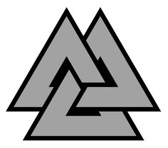 Valknut. An ancient symbol, found on Viking grave goods. It is now used as symbol of devotion in Norse Paganism.