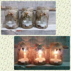 Vidros decorados para velas #decoracaodenatal #artideiasaboaria