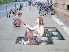 Street art can darken or illuminate the mood of an ally and of the people who walk by it. Murals Street Art, 3d Street Art, Amazing Street Art, Street Art Graffiti, Street Artists, Illusion Kunst, Illusion Art, 3d Sidewalk Art, Graffiti Kunst