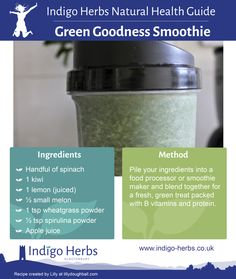 Try our Green Goodness Smoothie http://www.indigo-herbs.co.uk/recipe/green-goodness-smoothie