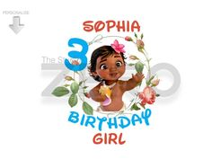 Disney Moana Baby - Personalize, Birthday Clipart, Moana Clipart, Printable Iron On Transfer or Use as Clip Art, DIY Disney Shirt by TheStudioZero on Etsy Moana Birthday Party, Girl Birthday, Birthday Gifts, Disney Clipart, Birthday Clipart, Disney Diy, Personalized Baby, Banner Design, Invitation Cards