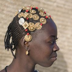 Timbuktu, A Songhay Girl with an Elaborately Decorated Hairstyle in Timbuktu, Mali Photographic Print