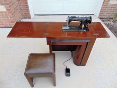 Vintage Singer Sewing Machine with Original Art Deco Cabinet and Matching Bench #Singer