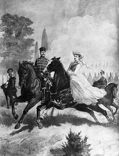 A portrait of Wilhelm and Dona riding with their two eldest sons
