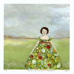 rebecca wore a dress of wildflowers - limited edition giclee of original oil painting. $45.00, via Etsy.