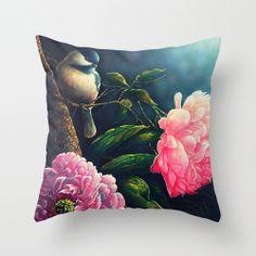 Velveteen Pillow  Floral  Flower Pillow  Bird  by BellaBellaShoppe, $65.00
