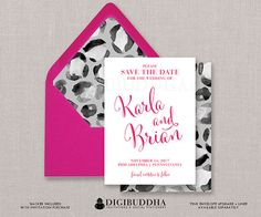 Save The Date Modern Pink Script Black & White Leopard Animal Print Gray Fuchsia Invitation FREE PRIORITY SHIPPING or DiY Printable- Karla style available at digibuddha.com