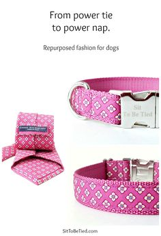 Rose pink dog collar for girls. Unique female dog collar repurposed from a necktie.