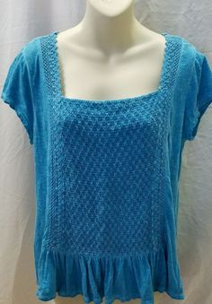Chip & Pepper Boho Women's Blue Top Size M #ChiliPepper #SquareNeck