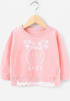 Free Shipping Like a Cute Baby Pink Bow Contrast Sweatshirt for Children. #sweatshirt #hoodies #girlsclothing
