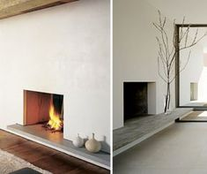 Plastered fireplace with concrete cantilever ledge.