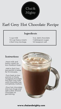 A hot chocolate recipe blended with your favourite tea is something that everyone loves! Enjoy this unique blend with our recipe! Yummy Drinks, Healthy Drinks, Plat Vegan, Smoothie Drinks, Smoothies, Tea Brands, Latte Recipe, Tea Latte, Coffee Recipes