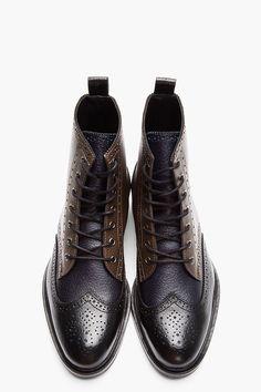 Black Tricolor Leather Wingtip Brogue Boots