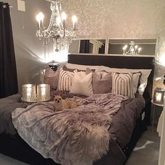 Glam bedroom ideas glam master bedroom marvelous idea glam bedroom decor ideas master pertaining to glam . Glam Master Bedroom, Home Bedroom, Room Decor Bedroom, Master Room, Silver Bedroom, Bedroom Furniture, Design Bedroom, Dark Furniture, Furniture Plans
