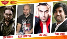 Joining us at Phoenix Comicon 2014 are Jon Scneep, Marc Andreyko, Sina Grace, and Vivek Tiwary! Comic writer and artist Jon is known for working on Dethklok, Zombie Tales and Cthulhu Tales. Marc is a screenwriter and comic writer and has worked on Manhunter or Torso. Sina is a comic writer and artist who has done work for Adventure Time, The Darkness and The Walking Dead. Vivek Tiwary is an actor, theater producer and graphic novel writer known for his work The Fifth Beatle.