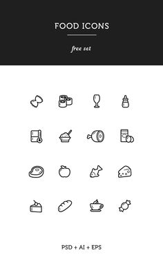 Food icons free on Behance