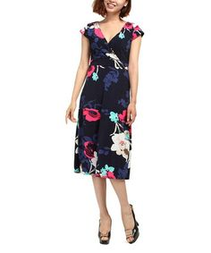 Look at this #zulilyfind! Black & Pink Floral Surplice Dress #zulilyfinds