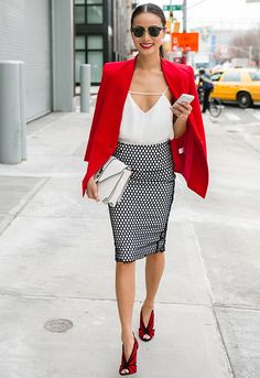 black and white pencil skirt + white tank + red blazer + red and black heels
