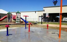 Daycare splash pad that we installed in LaGrange TX. 28' circle with tons of water action going on!! Will be adding bright blue Anti-Slip surface to it this weekend, check back for pics!!