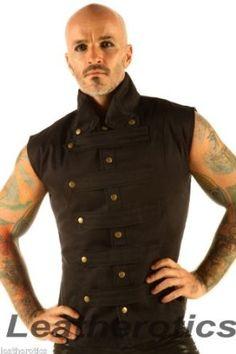 New Mens Steampunk Military Waistcoat Vest Top Mandarin Collar Guard Snap SPA1: Amazon.co.uk: Clothing