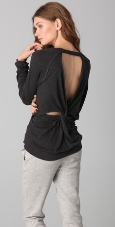 Heather Long Sleeve Knot Back Top - StyleSays
