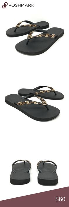 Havaianas Swarovski Crystal Leopard Sandals Sz 8 Havaianas Flip Flop Sandals Sz 39 - 40 US 7 - 8 Black Leopard Swarovski Crystals  Size: 8 is the Best Fit Color: Black Sandal with Swarovski Crystals in a leopard pattern  In excellent preowned condition they were worn once. Havaianas Shoes Sandals
