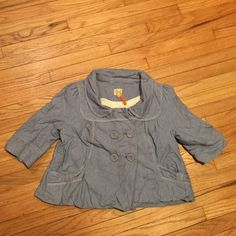 Anthropologie short blue cute jacket - size 6 Anthropologie short blue cute jacket - size 6. Armpit to armpit - 19.5 inches. Length - 20 inches. Excellent condition. Anthropologie Jackets & Coats