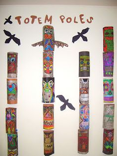 Totem Poles Grades 7 & 8. Very involved process w/ pencil, chalk, oil pastels, india ink...