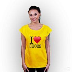T-shirt z nadrukiem damski I <3 shoes żółty  #tshirt #girl #żółty #iloveshoes #shoes #love #nadruk #koszulka #tshuttle