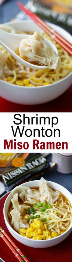 Shrimp Wonton Miso Ramen - restaurant-quality miso ramen with juicy and plump shrimp wontons, made with Nissin RAOH ramen, SO GOOD! | rasamalaysia.com