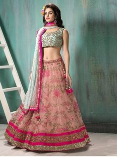 PINK embroidered net unstitched bridal-lehengas available online at Mirraw